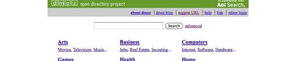 A screen shot of the DMOZ website