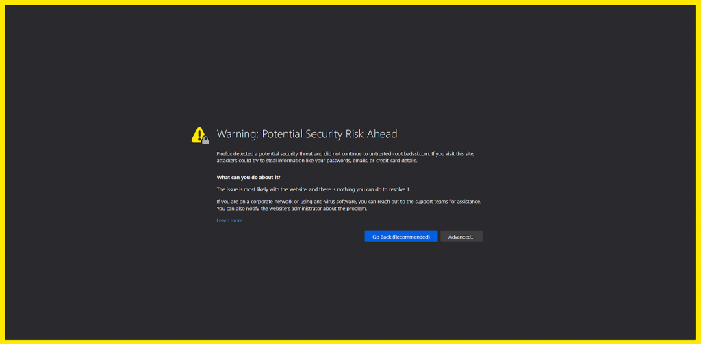 a bad ssl warning